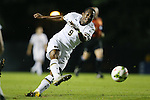 17 October 2014: Notre Dame's Leon Brown loses his footing as he takes a shot. The Duke University Blue Devils hosted the Notre Dame University Fighting Irish at Koskinen Stadium in Durham, North Carolina in a 2014 NCAA Division I Men's Soccer match. Notre Dame won the game 4-1.