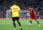 17th March 2018, Anfield, Liverpool, England; EPL Premier League football, Liverpool versus Watford; Mohammed Salah of Liverpool runs at the Watford defence