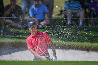Jordan Spieth (USA) hits from the trap on 1 during round 3 of the Fort Worth Invitational, The Colonial, at Fort Worth, Texas, USA. 5/26/2018.<br /> Picture: Golffile | Ken Murray<br /> <br /> All photo usage must carry mandatory copyright credit (&copy; Golffile | Ken Murray)