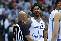 CHAPEL HILL, NC - FEBRUARY 25: Leaky Black #1 of the University of North Carolina during a game between NC State and North Carolina at Dean E. Smith Center on February 25, 2020 in Chapel Hill, North Carolina.