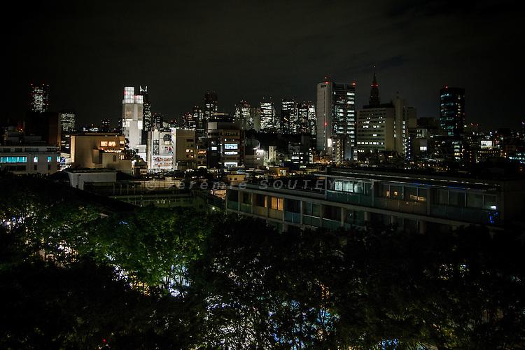 Tokyo, June 6 2012 - Omotesando avenue and Shinjuku skycrapers by night.