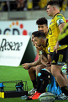 TJ Perenara, Matt Proctor, Ardie Savea and Ricky Riccitelli watch from the bench during the Super Rugby match between the Hurricanes and Crusaders at Westpac Stadium in Wellington, New Zealand on Friday, 29 March 2019. Photo: Dave Lintott / lintottphoto.co.nz