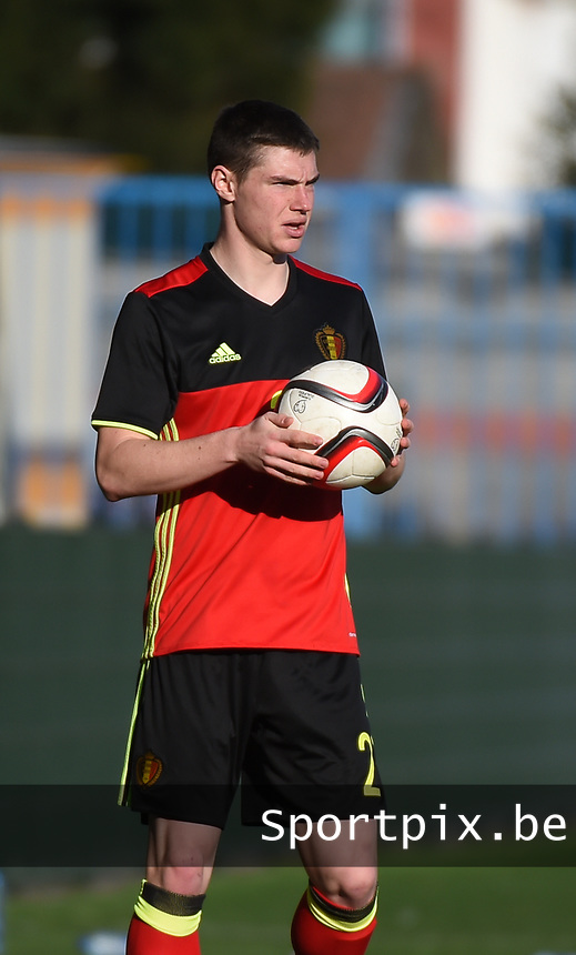 20170323 - BEVEREN , BELGIUM : Belgian Kino Delorge pictured during the UEFA Under 19 Elite round game between Sweden U19 and Belgium U19, on the first matchday in group 7 of the Uefa Under 19 elite round in Belgium , thursday 23 th March 2017 . PHOTO SPORTPIX.BE | DIRK VUYLSTEKE