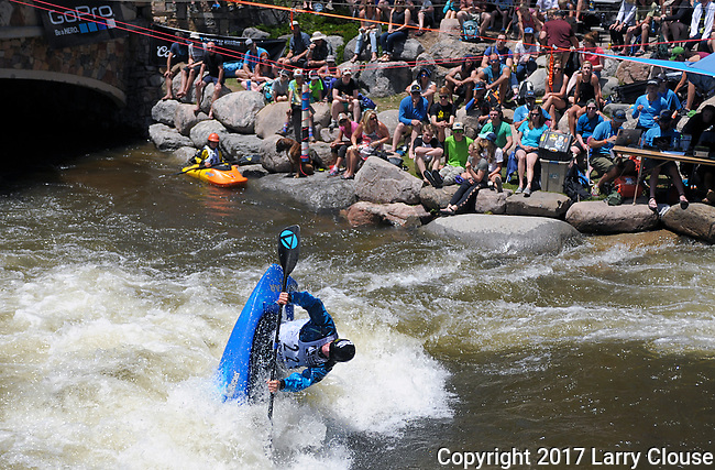 June 9, 2017 - Vail, Colorado, U.S. - Freestyle Kayak competition during the GoPro Mountain Games, Vail, Colorado.  Adventure athletes from around the world meet in Vail, Colorado, June 8-11, for America's largest celebration of mountain sports, music, and lifestyle.
