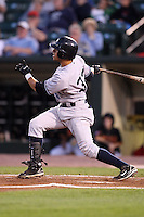 September 4, 2009:   Reegie Corona of the Scranton Wilkes-Barre Yankees hits a home run to right field during a game at Frontier Field in Rochester, NY.  Scranton is the Triple-A International League affiliate of the New York Yankees and clinched the North Division Title with a victory over Rochester.  Photo By Mike Janes/Four Seam Images