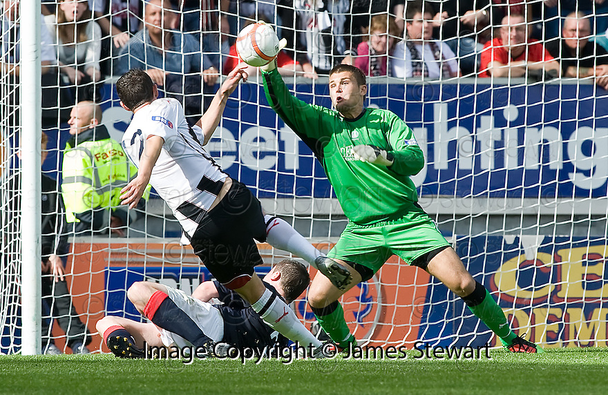 07/08/2010   Copyright  Pic : James Stewart.sct_jsp017_falkirk_v_dunfermline  .::  ROBERT OLEJNIK SAVES AT POINT BLANK RANGE FROM SEVEN MCDOUGALL ::  .James Stewart Photography 19 Carronlea Drive, Falkirk. FK2 8DN      Vat Reg No. 607 6932 25.Telephone      : +44 (0)1324 570291 .Mobile              : +44 (0)7721 416997.E-mail  :  jim@jspa.co.uk.If you require further information then contact Jim Stewart on any of the numbers above.........