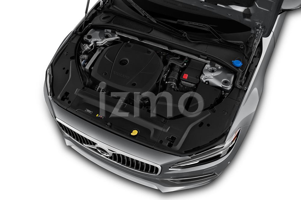 Car stock 2018 Volvo S90 T6 Inscription 4 Door Sedan engine high angle detail view