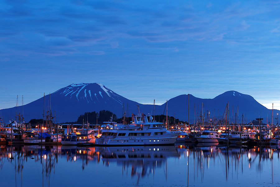 Boats in marina at New Thomsen Harbor with Mount Edgecomb in background, Sitka Harbor, Alaska, USA