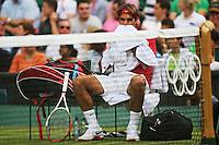 LONDRES, INGLATERRA, 28 JULHO 2012 - JOGOS OLIMPICOS TENIS - O tenista suico Roger Federer durante partida valida pelas Olimpiadas 2012 neste sabado em Londres capital da Inglaterra. (FOTO: PIXATHLON / BRAZIL PHOTO PRESS).