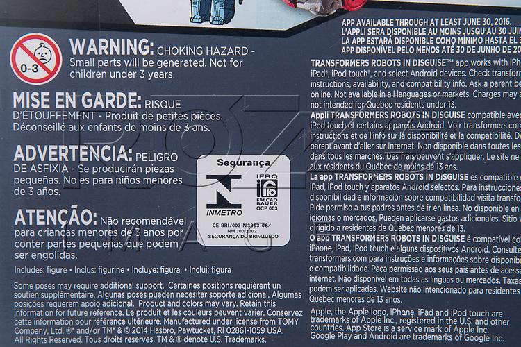 Certifição do Inmetro em caixa brinquedo, 2017.
