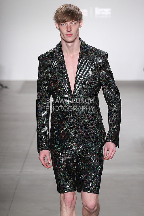 Model walks runway in an outfit by Chi Zhang, for the JD Fashion Fall 2016 runway show at Pier 59 Studios for NYFW: The Shows, during New York Fashion Week Fall 2016.