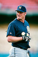 Jeromy Burnitz of the Milwaukee Brewers participates in a Major League Baseball game at Dodger Stadium during the 1998 season in Los Angeles, California. (Larry Goren/Four Seam Images)