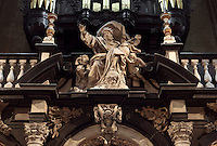 BRUGES, BELGIUM - FEBRUARY 08 : A low angle view of 'God the father', sculpture decorating the rood screen of the Cathedral of Saint Sauveur (St. Salvator) on February 08, 2009 in Bruges, Western Flanders, Belgium. This sculpture is dated circa 1682, in marble, done by Artus II Quellin (Quellinus), and considered as a master piece of he Baroque style sculpture. The cathedral was started in 1280 and was ended in 1350. It is one of the largest and oldest churches in Bruges. (Photo by Manuel Cohen)
