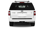 Straight rear view of a 2014 Ford Expedition Limited EL 5 Door SUV Rear View  stock images