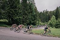 Simon Yates (GBR/Mitchelton-Scott) & team descending the Passo della Mauria<br /> <br /> stage 15: Tolmezzo – Sappada (176 km)<br /> 101th Giro d'Italia 2018