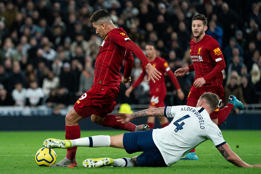 Tottenham's Toby Alderweireld battles with Liverpool's Roberto Firmino <br /> <br /> Photographer Stephanie Meek/CameraSport<br /> <br /> The Premier League - Tottenham Hotspur v Liverpool - Saturday 11th January 2020 - Tottenham Hotspur Stadium - London<br /> <br /> World Copyright © 2020 CameraSport. All rights reserved. 43 Linden Ave. Countesthorpe. Leicester. England. LE8 5PG - Tel: +44 (0) 116 277 4147 - admin@camerasport.com - www.camerasport.com