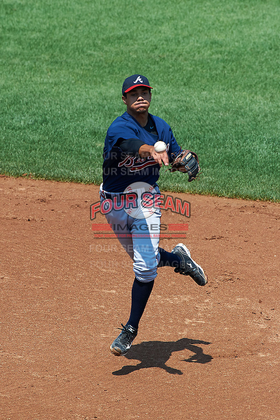 Michael Bell #9 of Langston Hughes High School in Fairburn, Georga playing for the Atlanta Braves scout team during the East Coast Pro Showcase at Alliance Bank Stadium on August 4, 2012 in Syracuse, New York.  (Mike Janes/Four Seam Images)