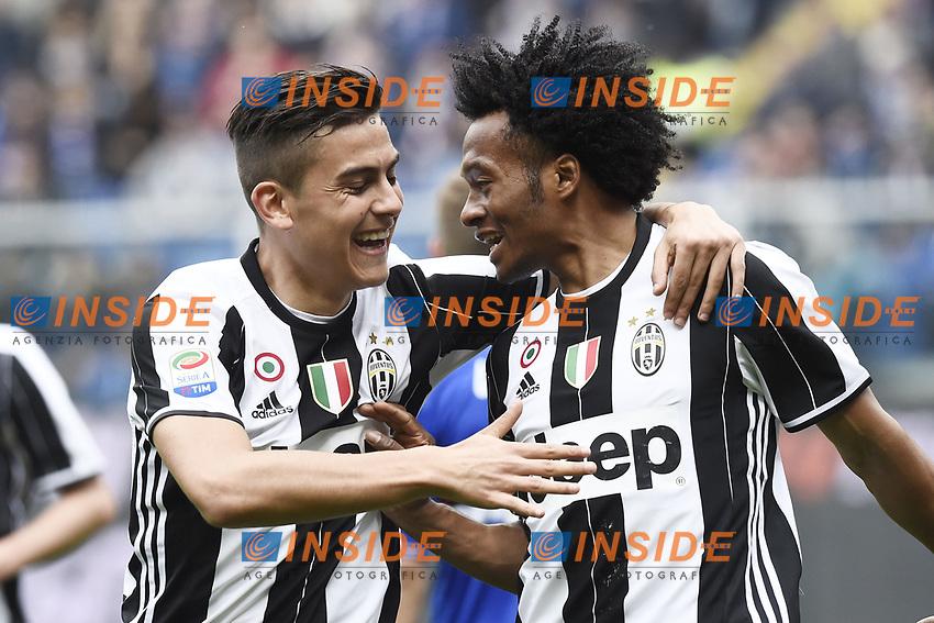 esultanza gol Juan Cuadrado Juventus Goal celebration with Paulo Dybala (L) <br /> Genova 19-03-2017 Stadio Marassi Football Calcio Serie A 2016/2017 Sampdoria - Juventus<br /> Foto ImageSport/Insidefoto