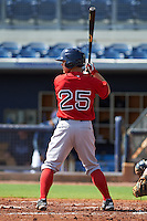 GCL Red Sox second baseman Sean Coyle (25) at bat during the first game of a doubleheader against the GCL Rays on August 4, 2015 at Charlotte Sports Park in Port Charlotte, Florida.  GCL Red Sox defeated the GCL Rays 10-2.  (Mike Janes/Four Seam Images)