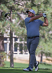 Roberto Diaz hits a tee shot during the Barracuda Championship PGA golf tournament at Montrêux Golf and Country Club in Reno, Nevada on Thursday, July 25, 2019.