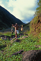 Hawaiian man walking into Waikolu valley with fish and gourd,Molokai