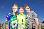 Muireann Deane, Helena Brennan and Maura Leen pictured at the Rose of Tralee International 10k Race in Tralee on Sunday.