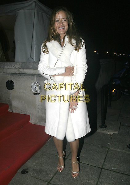 JADE JAGGER.Leaving Moet & Chandon Fashion Tribute 2005 to Matthew Williamson, Old Billingsgate Market, London, .February 16th 2005..full length white coat fur.Ref: AH.www.capitalpictures.com.sales@capitalpictures.com.©Capital Pictures.