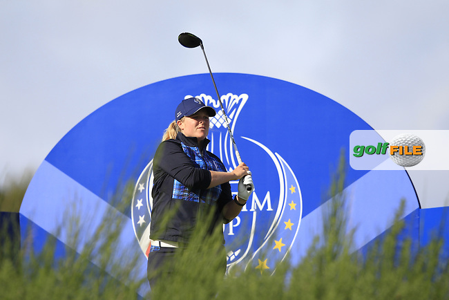 Caroline Hedwall Team Europe on the 8th tee during Day 1 Fourball at the Solheim Cup 2019, Gleneagles Golf CLub, Auchterarder, Perthshire, Scotland. 13/09/2019.<br /> Picture Thos Caffrey / Golffile.ie<br /> <br /> All photo usage must carry mandatory copyright credit (© Golffile   Thos Caffrey)