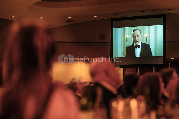 Actor Kevin Spacey appears on screen in a skit based on the hit show 'House of Cards&quot;  during the White House Correspondents' Association (WHCA) annual dinner in Washington, District of Columbia, U.S., on Saturday, April 27, 2013.<br /> Credit: Pete Marovich / Pool via CNP /MediaPunch