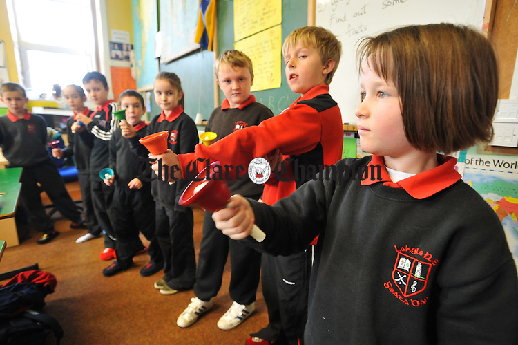 Almarose Keane and friends playing music  at Lackyle National School. Photograph by John Kelly.