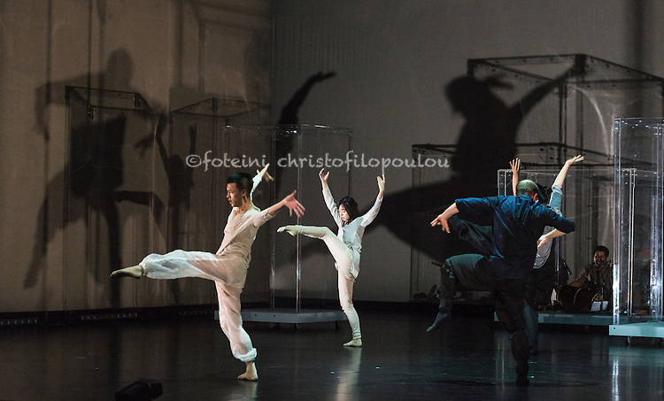 London, UK. 27.09.2015.  Yabin Studio & Eastman / Sidi Larbi Cherkaoui presents   GENESIS生长 at Sadler's Wells Theatre 28-29 September. Dancers are: Yabin Wang, Li Chao, Kazutomi Kozuki, Elias Lazaridis, Johnny Lloyd, Fang Yin, Qing Wang. Musicians are: Manjunath B Chandramouli, Barbara Drazkowska, Kaspy Kusosa Kuyubuka, Woojae Park.  Photo - © Foteini Christofilopoulou.