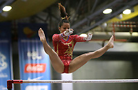 BARRANQUILLA - COLOMBIA, 23-07-2018: Pardo L de Colombia durante su participación en gimnasia mujeres modalidad barras asimétricas como parte de los Juegos Centroamericanos y del Caribe Barranquilla 2018. /  Pardo L of Colombia during his participation in gymnastics women's asymmetric bars category as a part of the Central American and Caribbean Sports Games Barranquilla 2018. Photo: VizzorImage / Cont