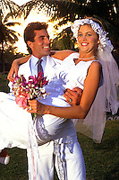 Young newlyweds at Caribbean wedding.