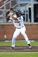 Osvaldo Duarte (2) of the Buies Creek Astros at bat against the Winston-Salem Dash at Jim Perry Stadium on August 15, 2018 in Buies Creek, North Carolina.  The Astros defeated the Dash 5-0.  (Brian Westerholt/Four Seam Images)