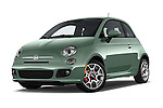 Stock pictures of low aggressive front three quarter view of 2016 Fiat 500 Sport 3 Door Hatchback Low Aggressive