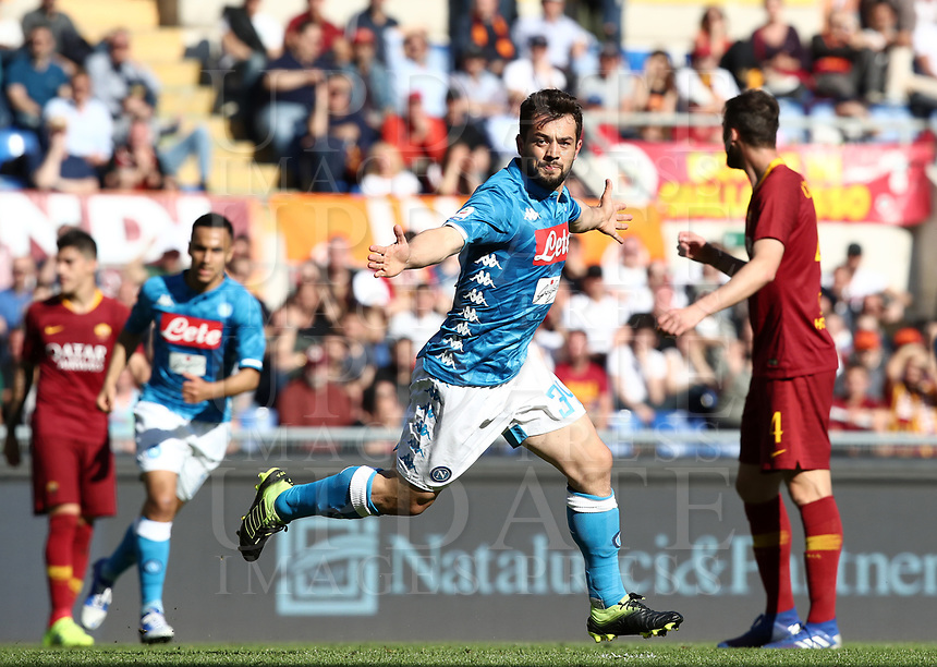 Football, Serie A: AS Roma - SSC Napoli, Olympic stadium, Rome, March 31, 2019. <br /> Napoli's Amin Younes celebrates after scoring during the Italian Serie A football match between Roma and Napoli at Olympic stadium in Rome, on March 31, 2019.<br /> UPDATE IMAGES PRESS/Isabella Bonotto