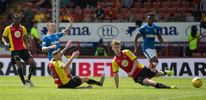Barrie McKay scores the equaliser for Rangers