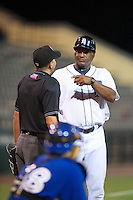 GCL Tigers Basilio Cabrera #43 argues a call with umpire Joe George during a Gulf Coast League game against the GCL Blue Jays at Joker Marchant Stadium on July 16, 2012 in Lakeland, Florida.  GCL Blue Jays defeated the GCL Tigers 4-3.  (Mike Janes/Four Seam Images)