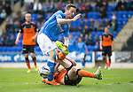 St Johnstone v Dundee United...09.05.15   SPFL<br /> Steven MacLean is tackled by Callum Morris<br /> Picture by Graeme Hart.<br /> Copyright Perthshire Picture Agency<br /> Tel: 01738 623350  Mobile: 07990 594431