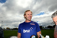 Coach Scott Robertson speaks to the media during the Crusaders Super Rugby training session at Rugby Park in Christchurch, New Zealand on Thursday 22 February 2018. Photo: Martin Hunter / lintottphoto.co.nz