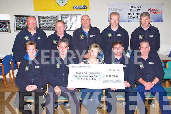 MAKE A WISH: The Kerry Irish Referrers Society and member's of Kare 4 Kids with a cheque for the Make A Wish Foundation at Mounthawk Park, Tralee on Monday seated l-r: Kevin O'Regan, Brian Moynihan, Siobhan O'Mahony, Brendan Kelly and Willie O'Gorman. Back l-r: Seamus O'Mahony, Mike Dempsey, Gert Kruis, Maurice O'Shea and Kevin Cunningham.
