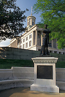 AJ4154, Nashville, State Capitol, State House, Tennessee, Statue of Sam Davis on the grounds of The State Capitol Building in the capital city of Nashville in the state of Tennessee. The capitol building is an example of Greek Revival architecture.