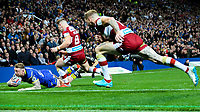 Warrington Wolves' Josh Charnley goes over for the first score<br /> <br /> Photographer Alex Dodd/CameraSport<br /> <br /> Betfred Super League Grand Final - Wigan Warriors v Warrington Wolves - Saturday 13th October 2018 - Old Trafford - Manchester<br /> <br /> World Copyright &copy; 2018 CameraSport. All rights reserved. 43 Linden Ave. Countesthorpe. Leicester. England. LE8 5PG - Tel: +44 (0) 116 277 4147 - admin@camerasport.com - www.camerasport.com