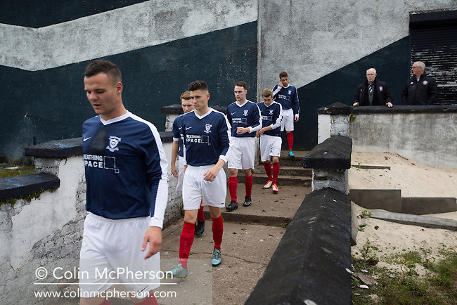 Home players walking on to the pitch at Millburn Park, Alexandria, before Vale of Leven hosted Ashfield in a West of Scotland League Central District Second Division Junior fixture. Vale of Leven were one of the founder members of the Scottish League in 1890 and remained part of the SFA and League structure until 1929 when the original club folded, only to be resurrected as a member of the Scottish Junior Football Association after World War II. They lost the match to Ashfield by 4-3, having led 3-1 with 10 minutes remaining.