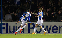 Celebrations as Matty Taylor of Bristol Rovers  scores to make it 2-0 during the Sky Bet League 2 rearranged match between Bristol Rovers and Wycombe Wanderers at the Memorial Stadium, Bristol, England on 1 December 2015. Photo by Andy Rowland.