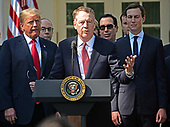 United States Trade Representative Robert Lighthizer, center, makes remarks on the United States Mexico Canada Agreement (USMCA) as US President Donald J. Trump, left, and Senior Advisor Jared Kushner, right, listen  in the Rose Garden of the White House in Washington, DC on Monday, October 1, 2018.  The President  took questions on the agreement and on the Kavanaugh nomination.<br /> Credit: Ron Sachs / CNP
