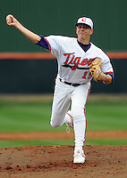 Clemson pitcher Graham Stoneburner in a game between the Clemson Tigers and Mercer Bears on Feb. 24, 2008, at Doug Kingsmore Stadium in Clemson, S.C. Photo by: Tom Priddy/Four Seam Images