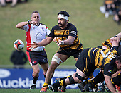 Tulele Masoe passes from the back of a scrum. Counties Manukau Premier 1 McNamara Cup Final between Ardmore Marist and Bombay, played at Navigation Homes Stadium on Saturday July 20th 2019.<br />  Bombay won the McNamara Cup for the 5th time in 6 years, 33 - 18 after leading 14 - 10 at halftime.<br /> Photo by Richard Spranger.