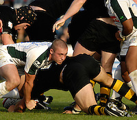 Wycombe, Great Britain, Left, Richie REES tackles, Wasps, Lawrence DALLAGLIO, during the EDF Energy, Anglo Welsh, rugby Cup match, London Wasps vs London Irish,  at Adams Park, England, 08/10/2006. [Photo, Peter Spurrier/Intersport-images]....