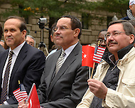 October 2, 2011  (Washington, DC)  District of Columbia Mayor Vincent Gray (center) attended the Turkish Festival in Washington with Turkish Ambassador Tan (left) and Ankara, Turkey, Mayor Melih Gökcek (right).    (Photo by Don Baxter/Media Images International)
